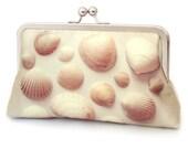Clutch bag, shell purse, sea shells, beach wedding, bridesmaid gift, printed silk bag, SEASHELLS