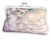 Pastel petals, ivory flower clutch bag, silk purse, wedding purse with chain handle