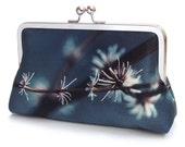 Silver twigs clutch bag with chain handle, blue silk purse