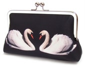 White swans clutch bag, silk purse with silver chain handle
