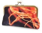 Orange twine clutch bag, silk purse with chain handle