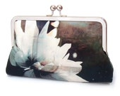 Black and white flower clutch bag, silk purse with chain handle