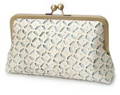 Angelica lace, printed silk clutch bag with chain handle