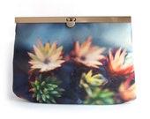 Moss flowers clutch bag, purse wallet