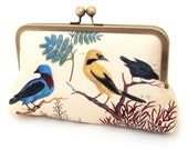 Birds clutch bag, printed silk purse with chain handle, blue and yellow bird