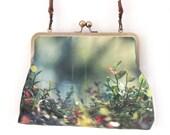 Woodland glade, large kisslock shoulder bag with crossbody leather strap