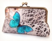Blue Morpho butterfly clutch purse, silk bag with chain handle