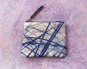 Blue grasses, velvet zipper purse for everyday treasures