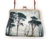 Pine trees large kisslock shoulder bag with crossbody leather strap