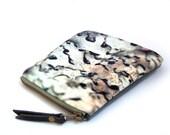 Silver lichen, velvet zipper purse for everyday treasures