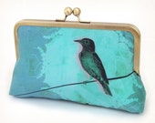 Blue bird clutch bag with chain handle, teal turquoise silk, BIRD ON A WIRE