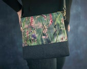 Velvet shoulder bag with crossbody leather strap, meadow grasses