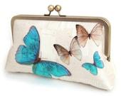 Blue butterflies clutch bag, silk purse with chain handle