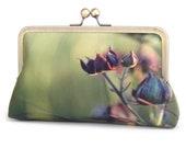 Green wildflower clutch bag, printed silk purse with chain handle, purple flower