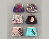 Velvet coin purse, moon, moss, feather, bird, berries, flower