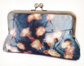 Forest lights clutch bag, blue and orange silk purse with chain handle