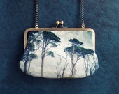 Scots pines velvet clutch bag with chain handle