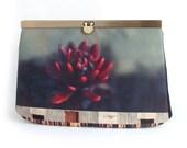 Red flower clutch bag, purse wallet