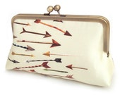 Yellow arrows clutch bag, silk purse with chain handle