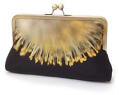 Yellow catkins clutch bag, sunburst blossom flower purse with chain handle