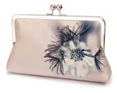 Silk clutch bag with chain handle, dusky pink noir flower