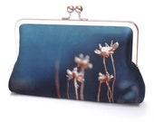 Blue thrift flower clutch bag, silk purse with chain