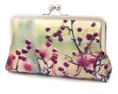 Red berries clutch bag, silk purse with chain handle, Hawthorn berry