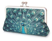 Peacock feathers clutch bag, blue green printed silk purse with silver chain handle