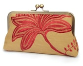 Linen clutch bag, red leaf purse with chain handle