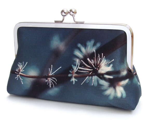 Silver twigs clutch bag, silk purse, flower bag, indigo, blue grey, woodland wedding, flower petals