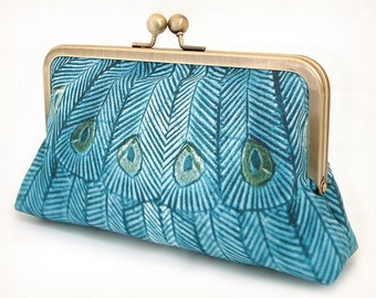 Teal peacock clutch bag, blue peacock feather purse with chain handle