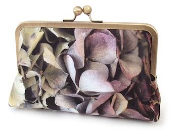 Clutch bag, hydrangea petals silk purse with chain handle
