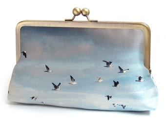 Birds clutch bag with chain handle, blue, coast, shore