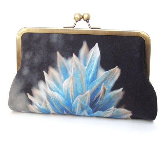 Blue flower clutch bag, silk purse, handbag, something blue, petals