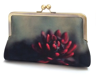 Red succulent flower clutch bag, silk purse with chain handle