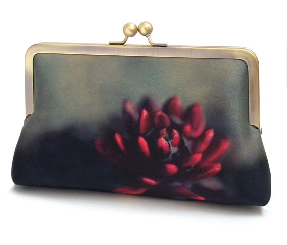 Request a custom order and have something made just for you. This seller usually responds within 24 hours. Red succulent flower clutch bag, silk purse, flower bag, scarlet, green, woodland wedding