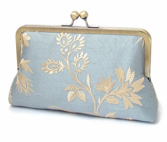 Blue silk clutch bag, flower purse, embroidered flowers handbag, something blue
