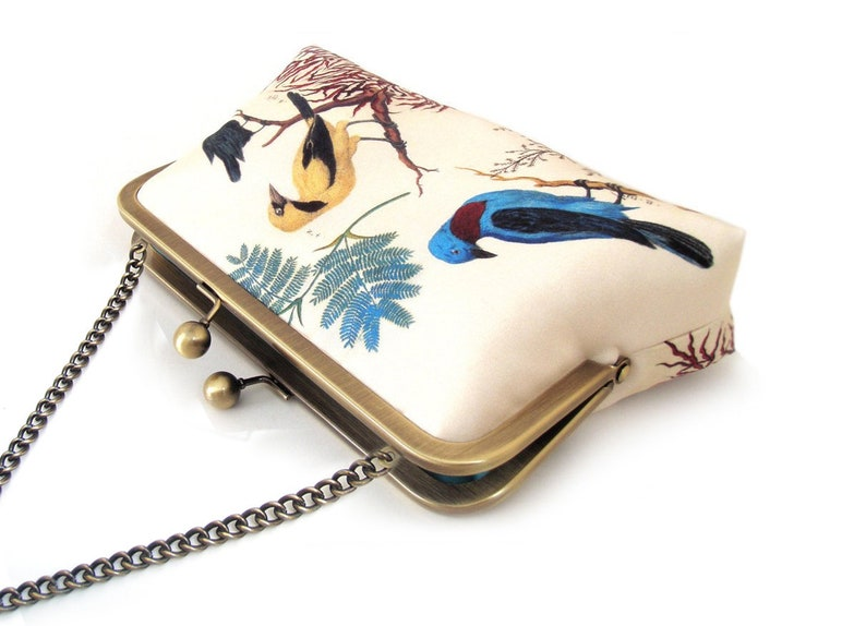 9a46e5024e Birds clutch bag printed silk purse with chain handle blue