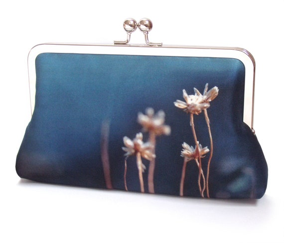 Coastal thrift flower clutch bag, silk purse, handbag