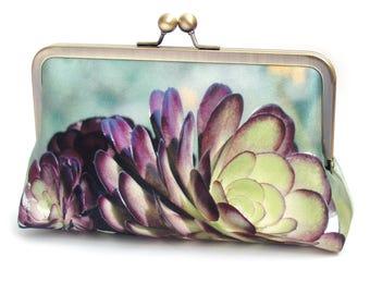 Succulent clutch bag, silk purse with chain handle, green desert cacti