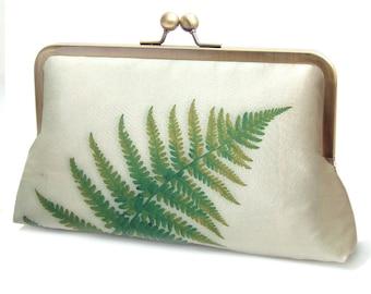 Green fern clutch bag, silk leaf frond purse with chain handle