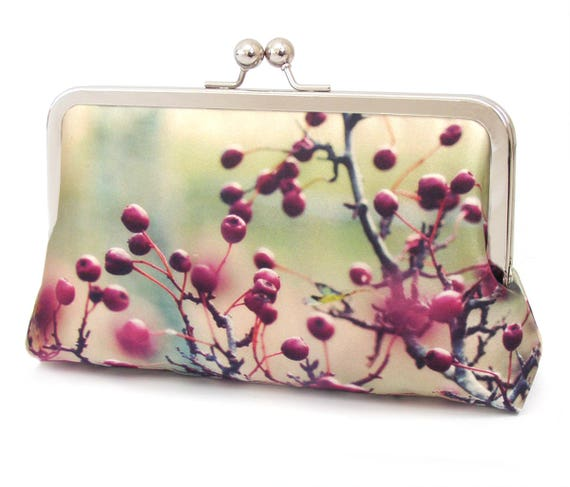 Red berries clutch bag, silk purse, flower bag, pink, red, green, woodland wedding, HAWTHORN