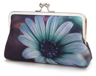 Blue daisy clutch bag, silk purse with silver chain handle