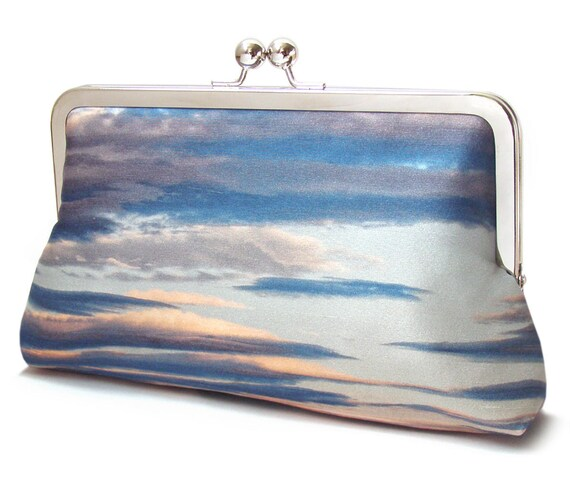 Request a custom order and have something made just for you. This seller usually responds within 24 hours. Clutch bag, sunset, clouds, blue sky, printed silk purse, heavens, cloudscape bag