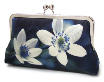 Windflowers silk clutch bag, printed silk purse with crossbody leather strap or chain handle
