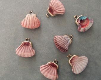 Tiny velvet seashell purse, small shell coin pouch