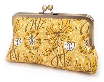 Yellow seedheads clutch bag, retro atomic print, silk-lined purse, bridesmaid gift, gift box SALE