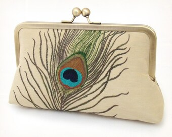 Peacock feathers - luxury silk and linen clutch bag