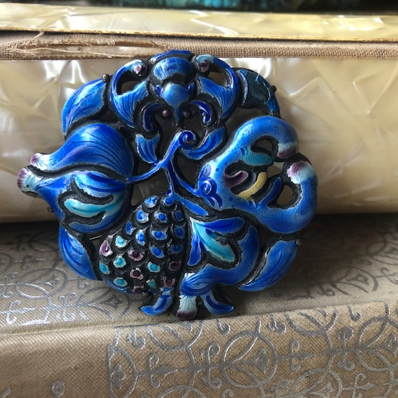 Chinese Blue Enamel Fruit and Bat Brooch