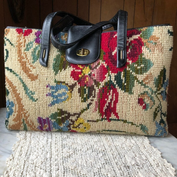 Vintage Floral Tapestry Carpet Bag